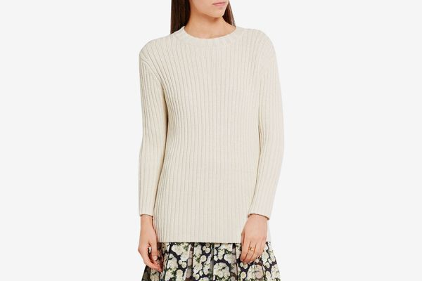 Adam Lippes Ribbed Silk and Linen Blend Sweater