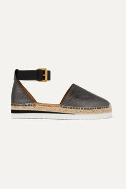 See by Chloe Metallic Leather Wedge Espadrilles