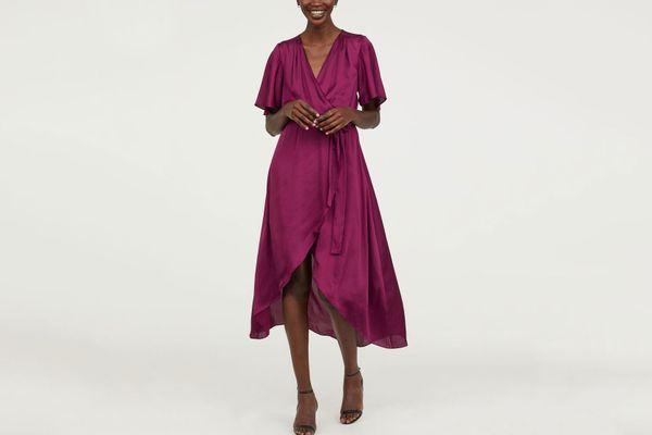 Silky Midi Wrap Dress