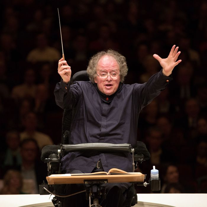 Metropolitan Opera Music Director James Levine leads the MET Orchestra in a concert at Carnegie Hall in New York on Sunday, May 19, 2013. Opera Music Director James Levine leads the MET Orchestra in a concert at Carnegie Hall in New York on Sunday, May 19, 2013. The Sunday, May 19 concert by the MET Orchestra at Carnegie Hall will mark Maestro Levine's first public performance in more than two years after being sideline by a spinal injury. The concert will be broadcast live on SIRIUS XM Channel 74 and streamed on the Met's Web site (metopera.org) beginning at 2:55 p.m. (AP Photo/Metropolitan Opera, Marty Sohl)