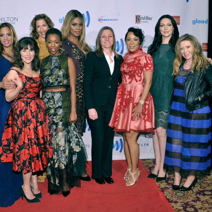 NEW YORK, NY - MAY 03: (L-R) Dascha Polanco, Yael Stone, Alysia Reiner, Samira Wiley, Laverne Cox, Selenis Leyva, Laura Prepon and Natasha Lyonne attend the 25th Annual GLAAD Media Awards on May 3, 2014 in New York City. (Photo by Stephen Lovekin/Getty Images for GLAAD)