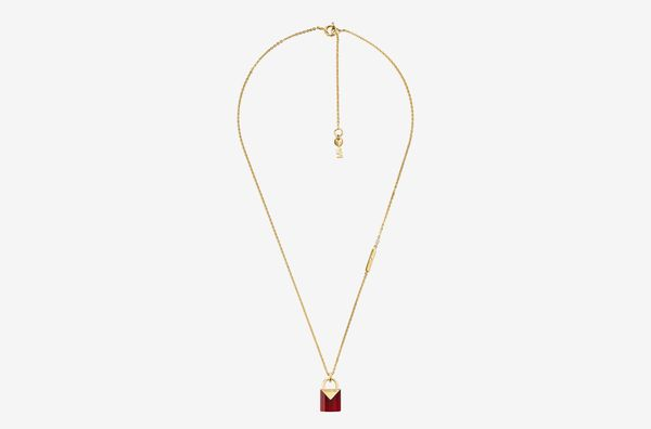Precious Metal-Plated Sterling Silver Lock Necklace