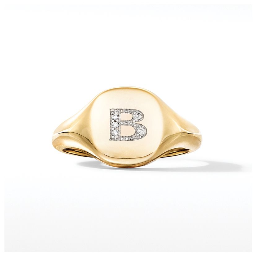 Mini DY Initial Pinky Ring in 18K Yellow Gold with Diamonds
