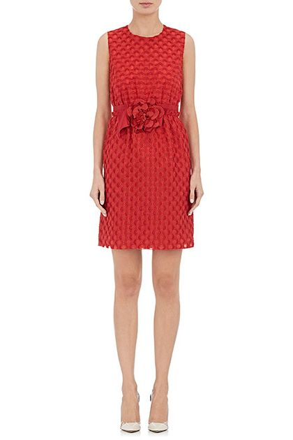 Lanvin Dot-Pattern Sleeveless Sheath Dress