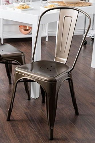 Tabouret Bistro Vintage Dark Bronze Steel Side Chairs (Set of 2)