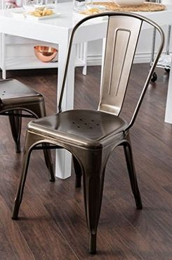 Tabouret Bistro Vintage Dark Bronze Steel Side Chairs (Set of 2)