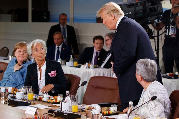 Image result for trump late for g7 womens meeting