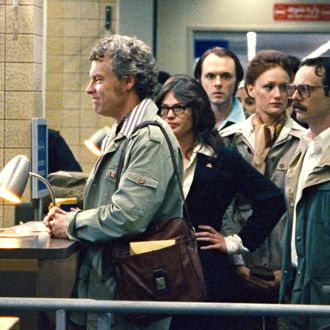 "(L-r) TATE DONOVAN as Bob Anders, CLEA DuVALL as Cora Lijek, CHRISTOPHER DENHAM as Mark Lijek, KERRY BISH? as Kathy Stafford, SCOOT McNAIRY as Joe Stafford, BEN AFFLECK as Tony Mendez and RORY COCHRANE as Lee Schatz in ""ARGO,"" a presentation of Warner Bros. Pictures in association with GK Films, to be distributed by Warner Bros. Pictures."
