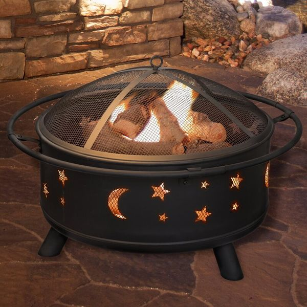 Millwood Pines Jackman Star and Moon Steel Wood Burning Fire Pit