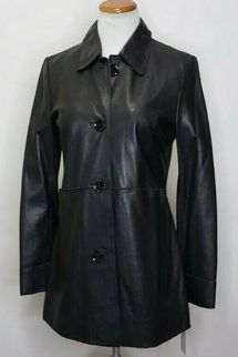 Calvin Klein Womens Classic 100% Lamb Leather Black Long Jacket