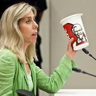 NEW YORK, NY - JULY 24:  Lisa Young, PhD, RD, a researcher on portion sizes, adjunct professor at New York University and author of the Portion Teller Plan, speaks in support of a proposed ban on the sale of certain sizes of sugary soft drinks at public hearing in front of the Board of Health at the Department of Health and Mental Hygiene in the Queens borough of New York, July 24, 2012. Under the proposed ban, sugary soft drinks with no nutritional value would not be allowed to be sold in sizes over 16 ounces. The hearing is the only scheduled hearing before the city's board of health votes on the proposal in September.  (Photo by Andrew Burton/Getty Images)
