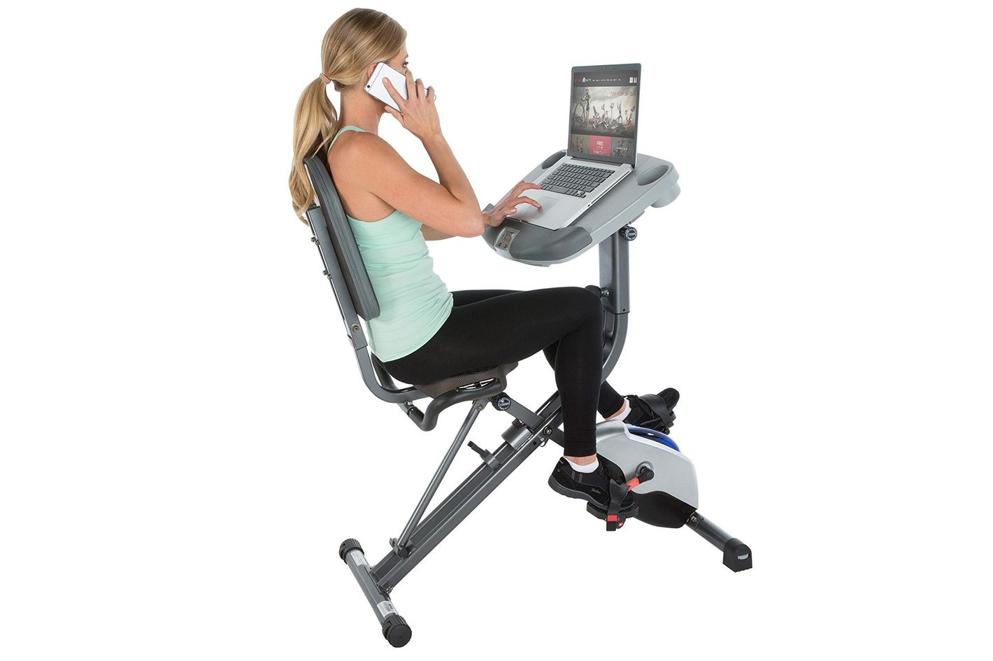 Exerpeutic Workfit 1000 Desk Station Folding Semi-Recumbent Exercise Bike