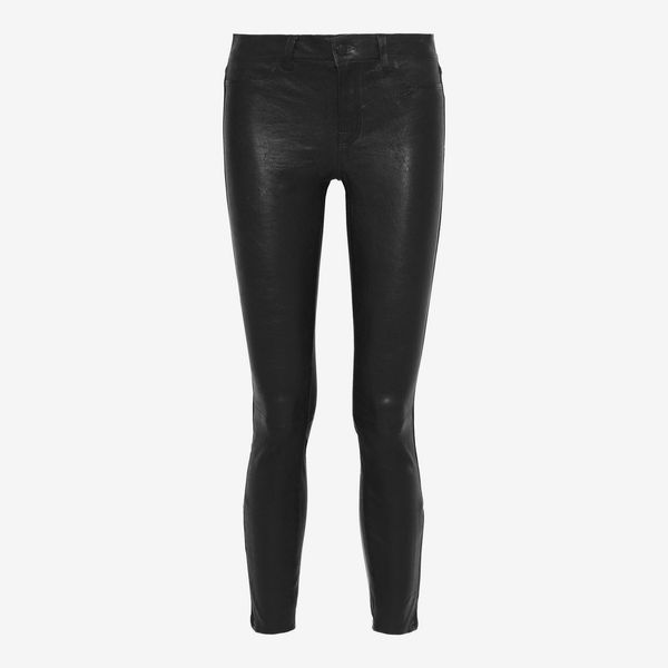 J Brand L8001 Stretch-Leather Skinny Pants (Midnight Blue)