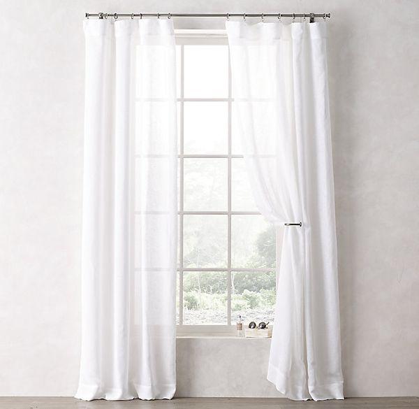 Sheer Linen-Cotton Drapery Panel