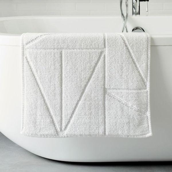 West Elm Organic Triangle Sculpted Bath Mat (White, 20