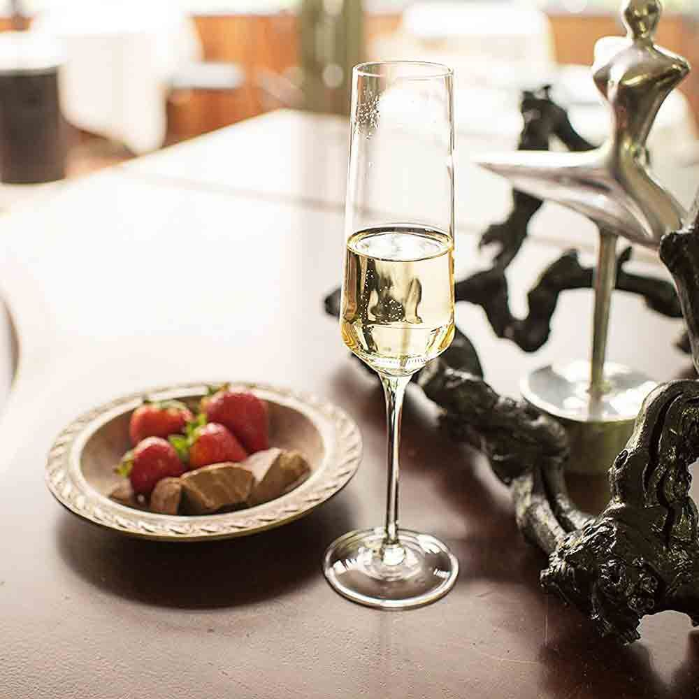 Bella Vino Crystal Champagne Flute Glasses