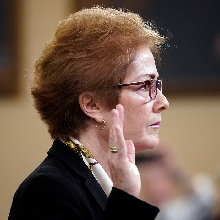 Former U.S. Ambassador to Ukraine Marie Yovanovitch is sworn in prior to providing testimony before the House Intelligence Committee on Capitol Hill November 15, 2019 in Washington, DC.