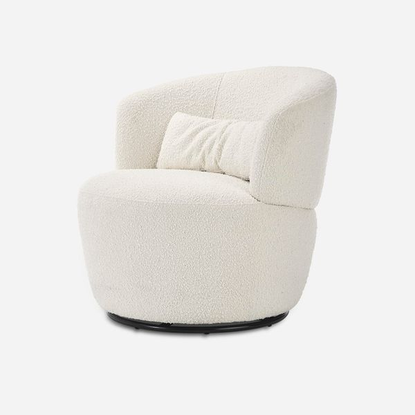 Amber Bouclé Swivel Chair, Snow