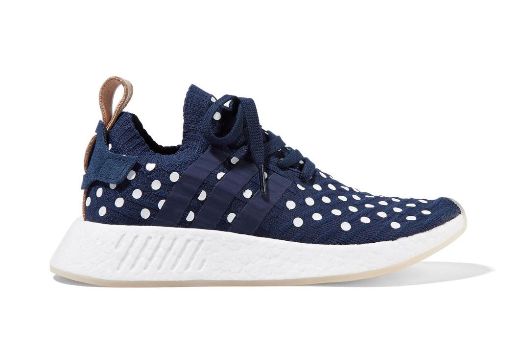 Adidas NMD R2 Leather-Trimmed Polka-Dot Primeknit Sneakers