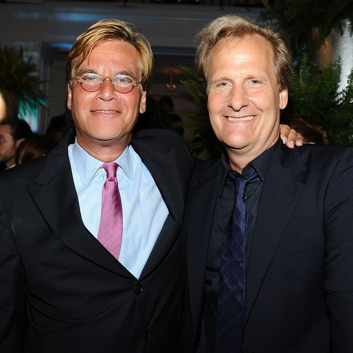 HOLLYWOOD, CA - JUNE 20: Writer Aaron Sorkin and actor Jeff Daniels attend the after party for HBO's New Series 'Newsroom' Los Angeles Premiere at Boulevard3 on June 20, 2012 in Hollywood, California. (Photo by Angela Weiss/Getty Images)