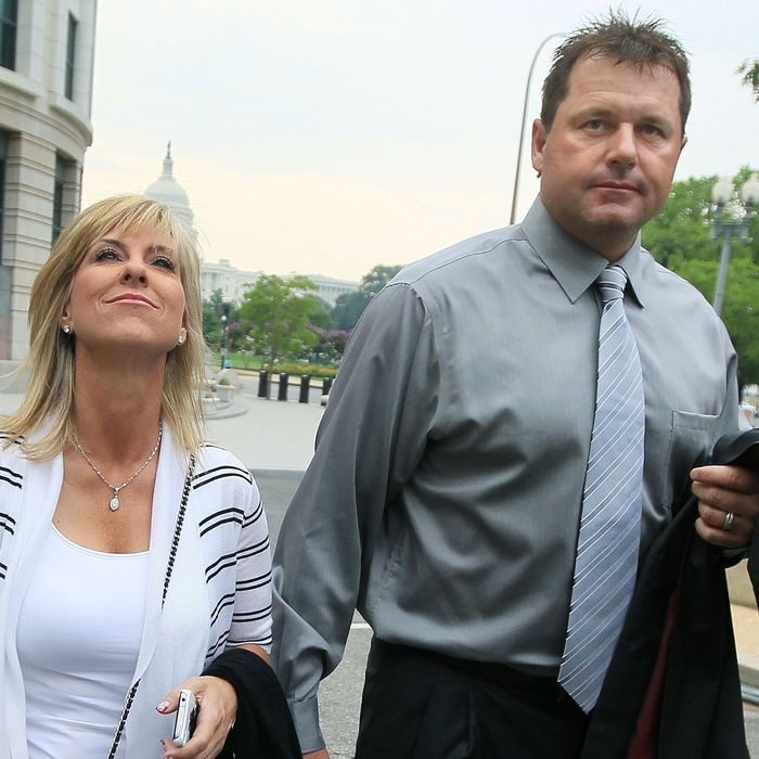 WASHINGTON, DC - JULY 06: Baseball pitching star Roger Clemens and his wife Debbie arrive at the U.S. District Court on July 6, 2010 in Washington, DC. Seven-time Cy Young Award winner Clemens is on trial for making false statements, perjury and obstructing Congress when he testified in a February 2008 inquiry by the House Oversight and Government Affairs Committee on his alleged use of performance enhancing drugs. (Photo by Mark Wilson/Getty Images)