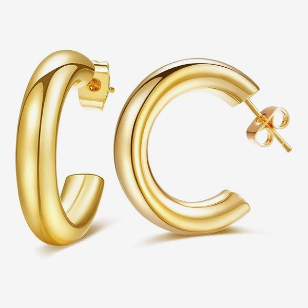LBJIE 14K Gold Plated Hoop Earrings