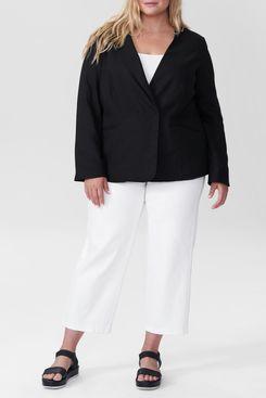 Universal Standard Paloma Linen Blazer, Black