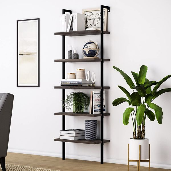Nathan James Theo 5-Shelf Wood Modern Bookcase