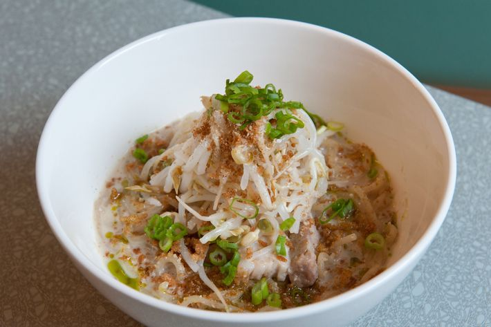 Whole-wheat noodles, pickled bean sprouts, and four-cheese mazemen.