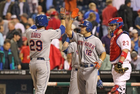 PHILADELPHIA - MAY 9: First baseman Ike Davis #29 of the New York Mets is congratulated by right fielder Scott Hairston #12 after hitting a home run during a game against the Philadelphia Phillies at Citizens Bank Park on May 9, 2012 in Philadelphia, Pennsylvania. (Photo by Hunter Martin/Getty Images)