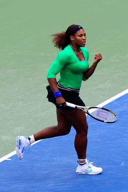 TORONTO, CANADA - AUGUST 14:  Serena Williams celebrates winning a point during the final against Samantha Stosur of Australia on Day 7 of the Rogers Cup presented by National Bank at the Rexall Centre on August 14, 2011 in Toronto, Ontario, Canada.  (Photo by Chris Trotman/Getty Images)