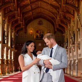 New parents Meghan Markle and Prince Harry with their son.