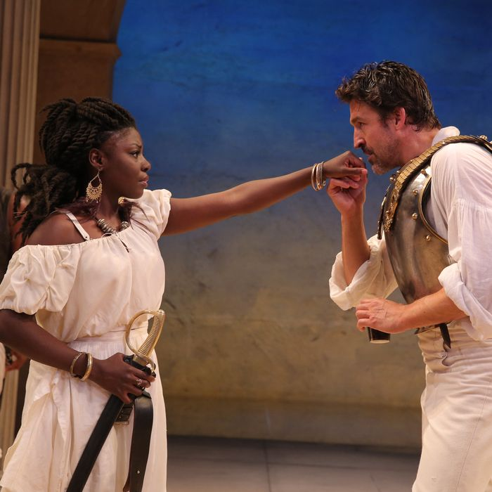 Chivas Michael, Joaquina Kalukango, and Jonathan Cake in Antony and Cleopatra, edited and directed by Tarell Alvin McCraney, running at The Public at Astor Place. Photo credit: Joan Marcus.