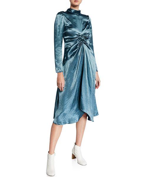 Mock-Neck Satin Dress