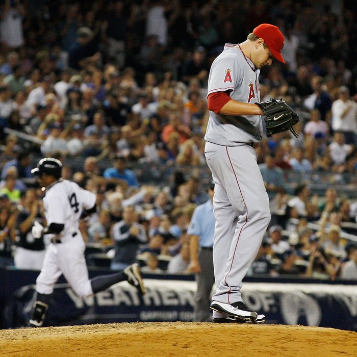 NEW YORK, NY - AUGUST 10: Garrett Richards #43 of the Los Angeles Angels of Anaheim reacts afyter giving up a homerun to Curtis Granderson #14 of the New York Yankees on August 10, 2011 at Yankee Stadium in the Bronx borough of New York City. (Photo by Mike Stobe/Getty Images)