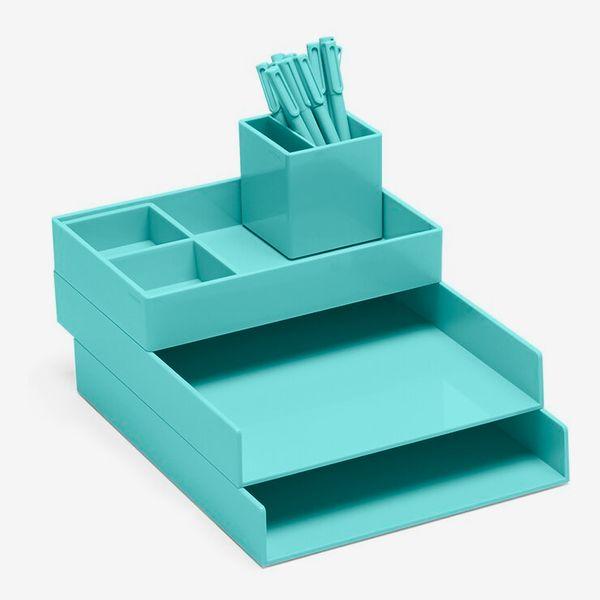Poppin Aqua Super Stacked Desk Set