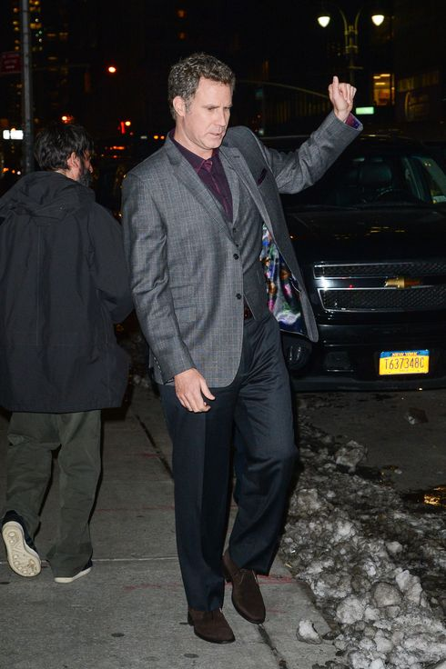 "Actor Will Ferrell leaves the ""Late Show With David Letterman"" taping at the Ed Sullivan Theater on December 16, 2013 in New York City."