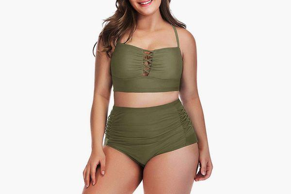 Yomoko Plus Size High Waist Bandage Bikini Set in Army Green