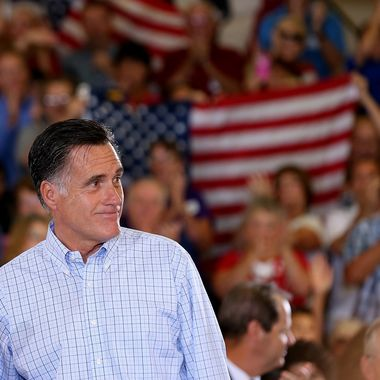 GOLDEN, CO - AUGUST 02: Republican presidential candidate and former Massachusetts Gov. Mitt Romney speaks during campaign event at the Jefferson County Fairgrounds on August 2, 2012 in Golden, Colorado. One day after returning from a six-day overseas trip to England, Israel and Poland, Mitt Romney is campaigning in Colorado before heading to Nevada. (Photo by Justin Sullivan/Getty Images)
