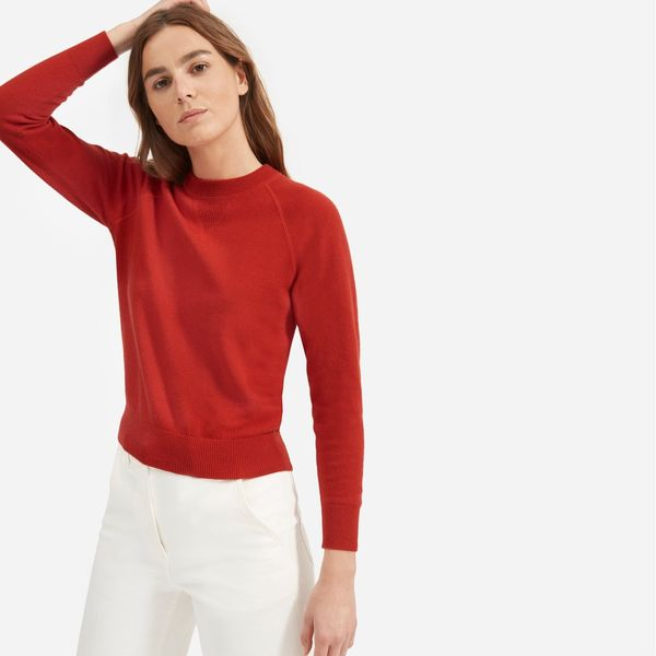 Everlane Cashmere Shrunken Sweatshirt, Red