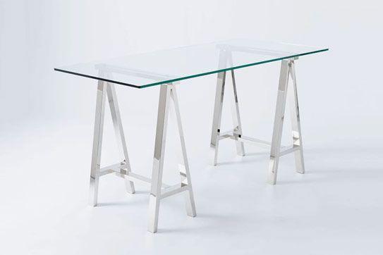 Cross-Base Desk — Polished Nickel