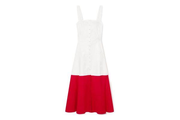 STAUD Dusk two-tone cotton-blend poplin dress