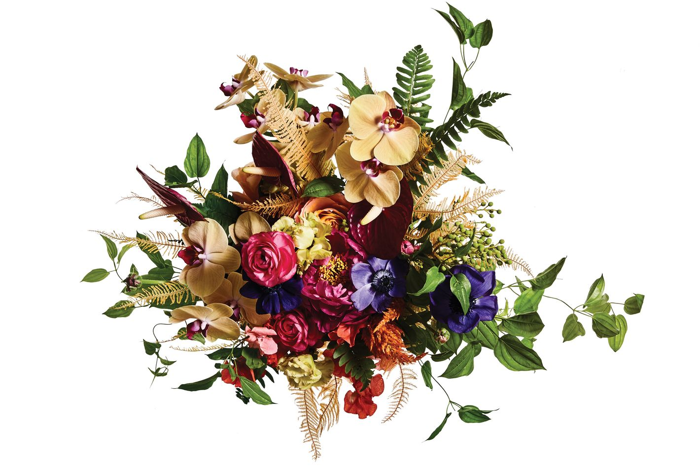 Anemone, peony, ranunculus, orchid, anthurium, celosia, fern, and passion flower vine