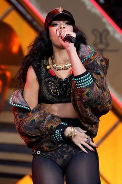Rihanna performs at Barclaycard Wireless Festival at Hyde Park on July 8, 2012 in London, England.