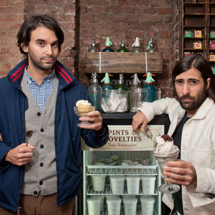 Perry and Schwartzman, inside what's formerly known as Lula's Sweet Apothecary.