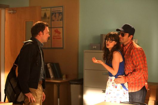 "NEW GIRL:  Jess (Zooey Deschanel, C) is caught off-guard when Nick (Jake Johnson, R) goes undercover in Jess' classroom to expose a secret about one of her students (guest star Nathan Corddry, L) in the ""Pepperwood"" episode of NEW GIRL airing Tuesday, Jan. 22 (9:00-9:30 PM ET/PT) on FOX."