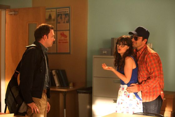 NEW GIRL:  Jess (Zooey Deschanel, C) is caught off-guard when Nick (Jake Johnson, R) goes undercover in Jess' classroom