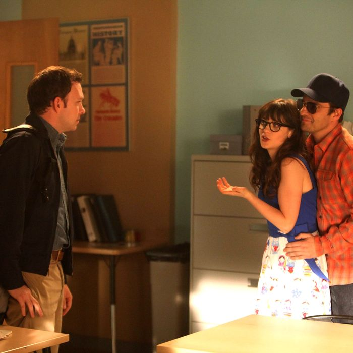 NEW GIRL: Jess (Zooey Deschanel, C) is caught off-guard when Nick (Jake Johnson, R) goes undercover in Jess' classroom to expose a secret about one of her students (guest star Nathan Corddry, L) in the