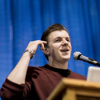 James O'Keefe, who gained national attention after releasing secretly recorded videos of workers in ACORN offices, speaks during a breakout session at the We The People tea party convention at the Ohio Expo Center in Columbus, Ohio on June 29, 2012. Occurring on the day following the Supreme Court's ruling to uphold the Affordable Care Act, several of the day's sessions focused on various plans of attack for tea partiers to follow in efforts to have the law stymied or repealed. (Photo by T.J. Kirkpatrick)