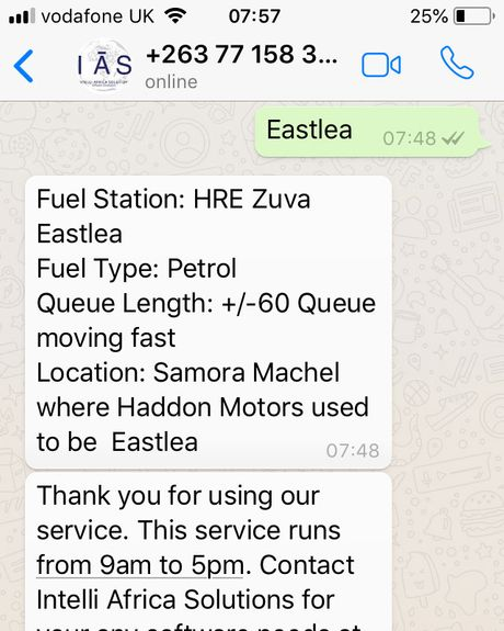 A text conversation on WhatsApp between a user and Intelli Africa Solutions' chatbot, displaying gas availability at a station in Eastlea, Zimbabwe.